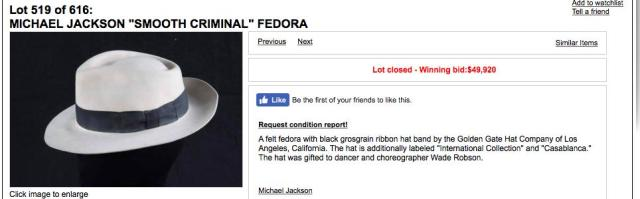 Leaving neverland kapelusz Jacksona