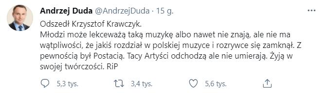 Andrzej Duda o Krzysztofie Krawczyku